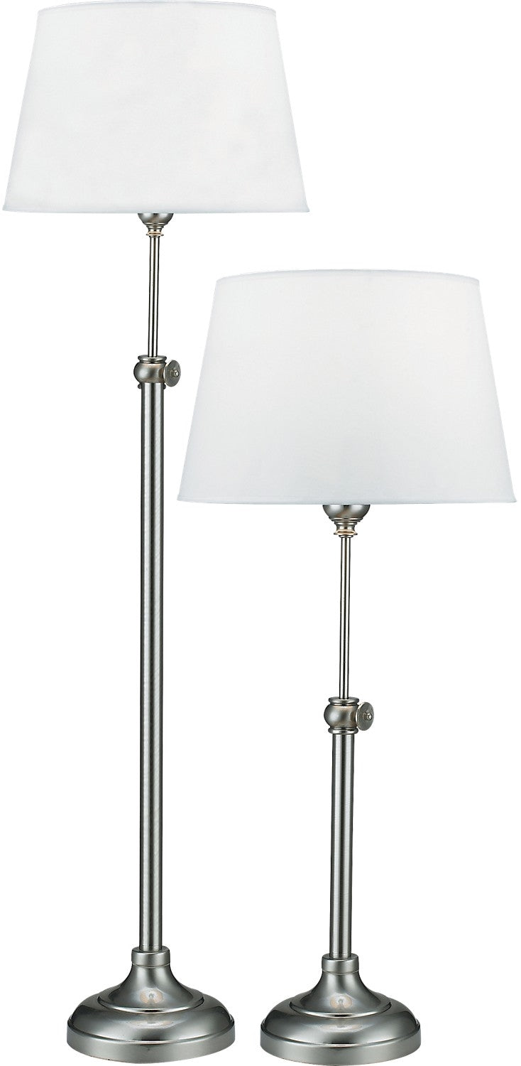 Satin Nickel 2-Piece Adjustable Floor and Table Lamp Set|Ensemble 2 pièces, 1 lampe à pied et 1 lampe de table réglables, en nickel satiné