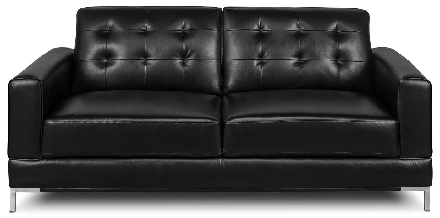 Myer Leather Look Fabric Sofa Black The Brick