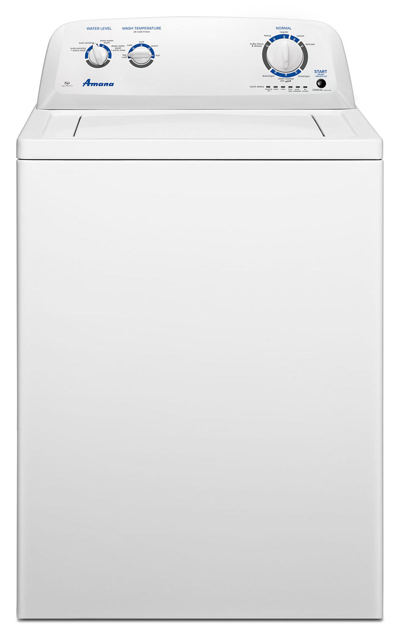 Amana 4.0 Cu. Ft. Top-Load Washer with Dual Action Agitator – NTW4516FW|Laveuse Amana à chargement par le haut de 4,0 pi3 avec agitateur à double action - NTW4516FW