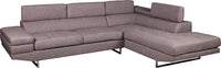 Zeke 2-Piece Linen-Look Fabric Right -Facing Sectional - Platinum