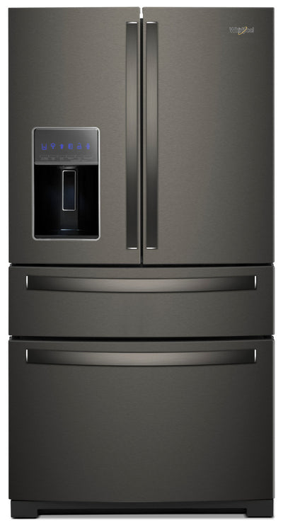 Whirlpool 26 Cu. Ft. 4-Door Refrigerator with Exterior Drawer – WRX986SIHV - Refrigerator with Exterior Water/Ice Dispenser in Black Stainless Steel