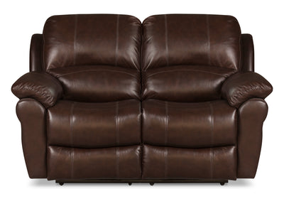 Kobe Genuine Leather Reclining Loveseat - Brown - Contemporary style Loveseat in Brown