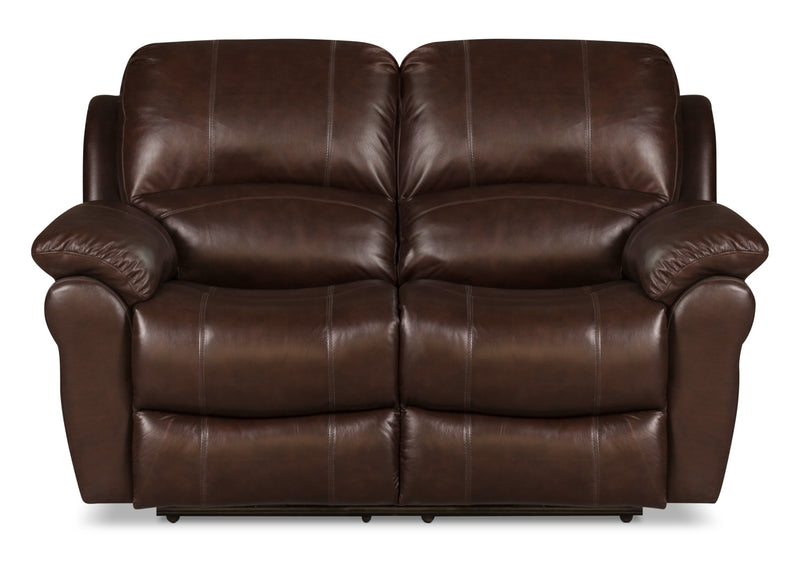 Kobe Genuine Leather Power Reclining Loveseat – Brown|Causeuse à inclinaison électrique Kobe en cuir véritable - brune