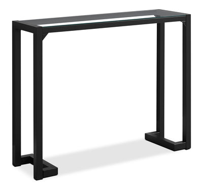 Megan Console Table – Black - Modern style Hall Table in Black Glass and Metal