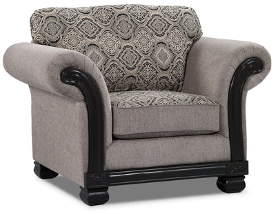 Hazel Chenille Chair - Grey - Traditional style Chair in Grey