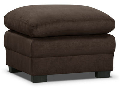 Peyton Microsuede Ottoman - Chocolate - Contemporary style Ottoman in Chocolate