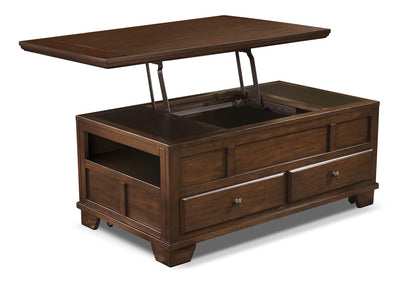 Gately Coffee Table with Lift-Top - Rustic style Coffee Table in Dark Brown Hardwood Solids