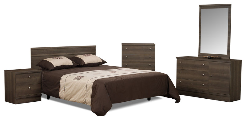 Loft 5-Piece Queen Bedroom Package – Grey-Brown|Ensemble de chambre à coucher Loft 5 pièces avec grand lit - gris brun