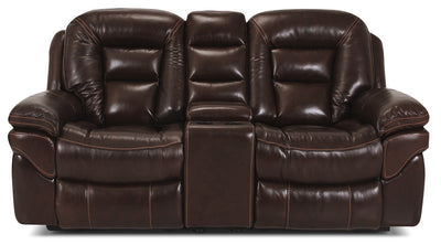 Leo Genuine Leather Reclining Loveseat – Walnut - Contemporary style Loveseat in Brown