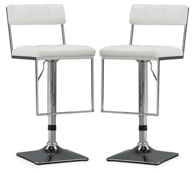CorLiving Square-Tufted Wide Adjustable Bar Stool, Set of 2 – White|Tabouret bar large et réglable CorLiving à capitonnage carré, ensemble de 2 - blanc|DAB818BP