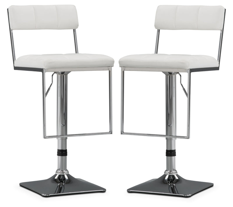 CorLiving Square-Tufted Wide Adjustable Bar Stool, Set of 2 – White - Modern style Bar Stool in White Metal and Faux Leather