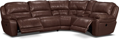 Marco Genuine Leather 5-Piece Sectional with Two Power Recliners– Chocolate - Contemporary style Sectional in Brown