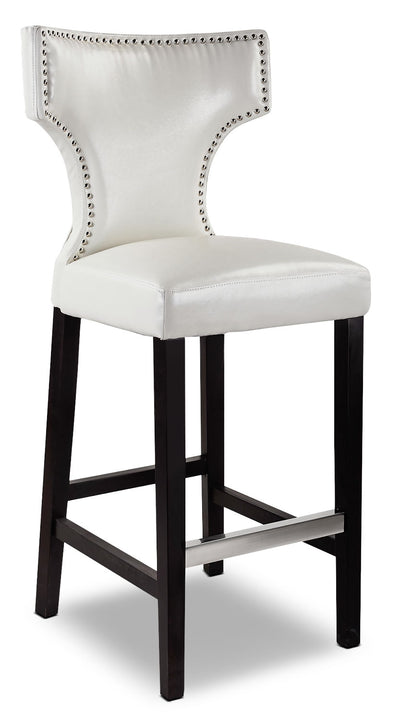 Kings Bar-Height Bar Stool with Metal Studs – White - Modern style Bar Stool in White Faux Leather
