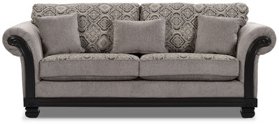 Hazel Chenille Full-Size Sofa Bed - Grey - Traditional style Sofa Bed in Grey