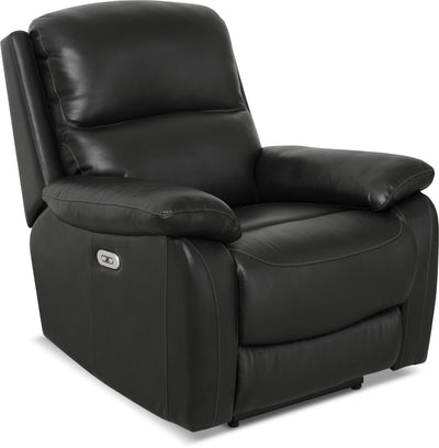 Grove Genuine Leather Power Reclining Chair with Adjustable Headrest – Black - Contemporary style Chair in Black