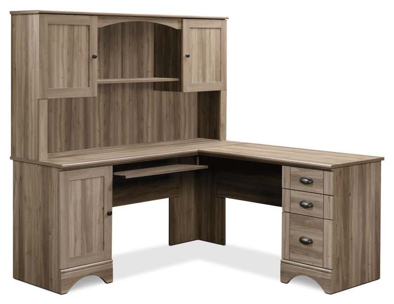Harbor View Corner Desk with Hutch – Salt Oak|Bureau de coin Harbor View avec crédence - chêne salé