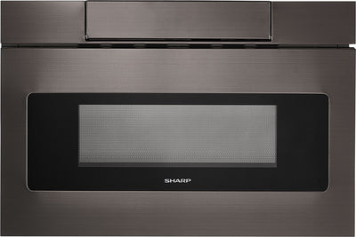 "Sharp 24"" 1.2 Cu. Ft. 950-Watt Microwave Drawer® Oven – SMD2477AHC - Built-In Microwave with Child Lock in Black Stainless Steel"