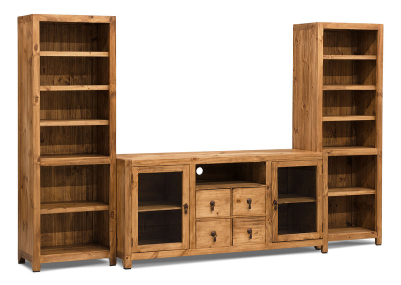 "Santa Fe Rusticos 3-Piece Solid Pine Entertainment Centre with 59"" TV Opening - Rustic style Wall Unit in Pine"