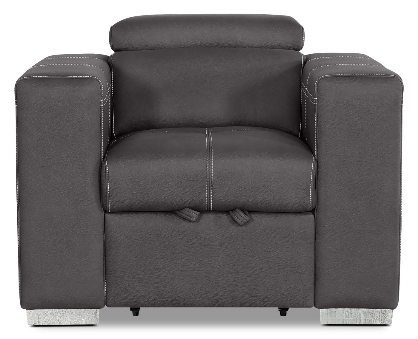 Picture of: Drake Faux Suede Chair With Pull Out Ottoman Cement The Brick
