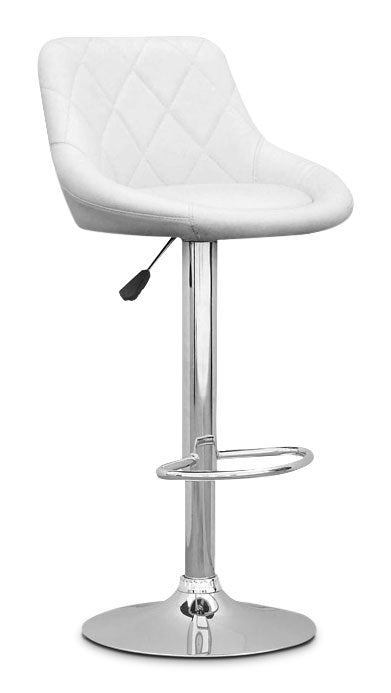 Adjustable Diamond-Back Barstool – White Leatherette|Tabouret réglable avec dossier à motif diamant - similicuir blanc