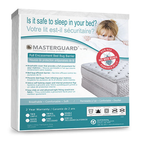 Masterguard® Encasement Bedbug Barrier - Twin - White Mattress Protector