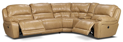Marco Genuine Leather 5-Piece Sectional with Power Recliners– Toffee - Contemporary style Sectional in Toffee