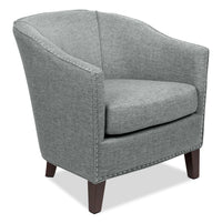 Stella Linen-Look Fabric Accent Chair – Grey