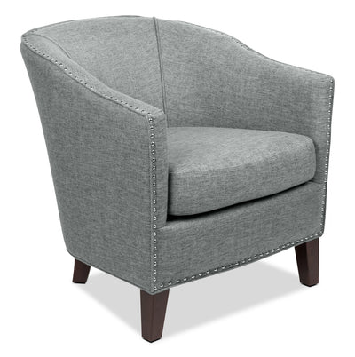Stella Linen-Look Fabric Accent Chair – Grey - Contemporary style Accent Chair in Grey