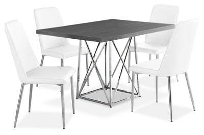 Marco 5-Piece Dining Package – White - Modern style Dining Room Set in White Particleboard and Metal