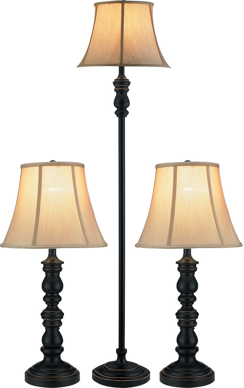 Black with Gold Accents 3-Piece Floor and Two Table Lamps Set|Ensemble 3 pièces, 1 lampe à pied et 2 lampes de table, noir avec touches dorées