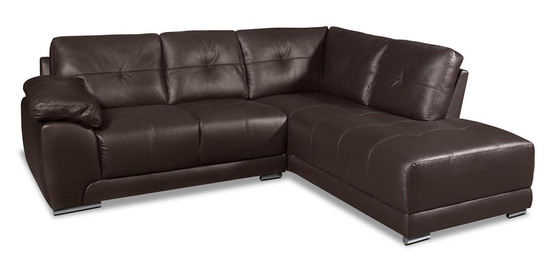 Rylee 2-Piece Genuine Leather Right-Facing Sectional - Brown|Sofa sectionnel de droite Rylee 2 pièces en cuir véritable - brun