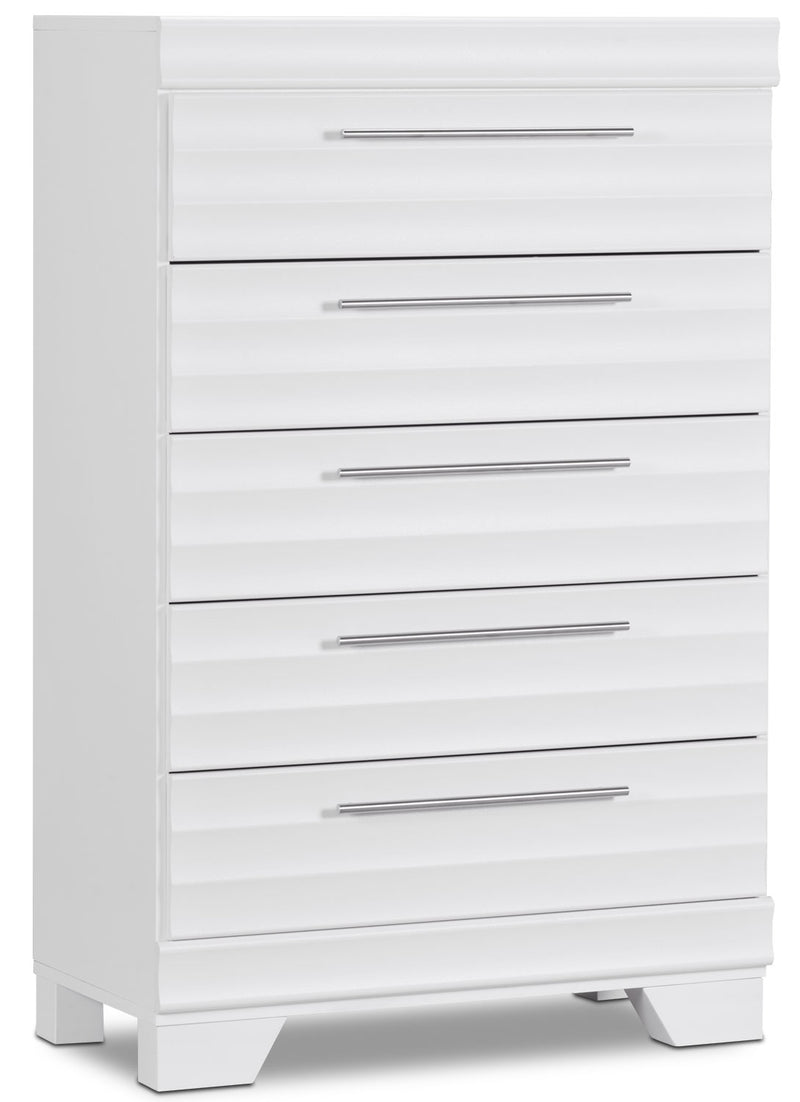 Olivia Chest - White - Modern style Chest in White Engineered Wood and Laminate Veneers