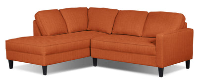 Paris 2-Piece Linen-Look Fabric Left-Facing Sectional – Tangerine - Modern style Sectional in Tangerine