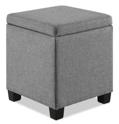Washington Storage Ottoman - Contemporary style Bench in Grey Wood and Polyester