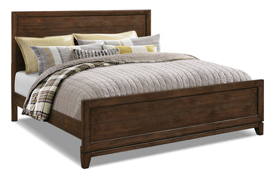 Tacoma King Bed - Rustic style Bed in Dark Brown Pine Solids and Veneers