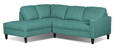 Paris 2-Piece Linen-Look Fabric Left-Facing Sectional – Ocean - Modern style Sectional in Ocean
