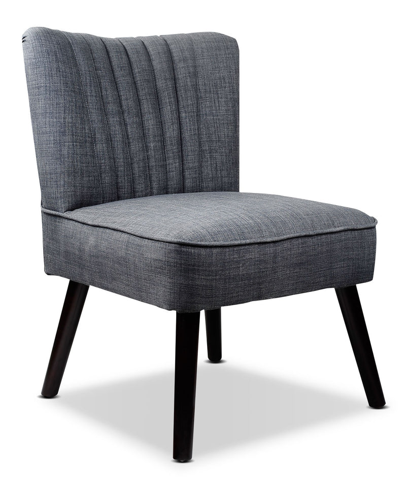 LAD Linen-Like Fabric Accent Chair – Grey|Fauteuil d'appoint LAD en tissu d'apparence lin - gris