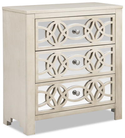 Faye Nightstand - White - {Glam} style Nightstand in Antique White {Asian Hardwood}, {Medium Density Fibreboard (MDF)}