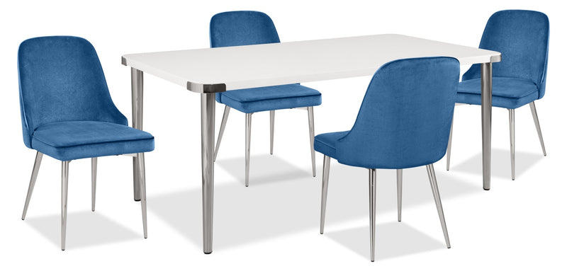 Manhattan 5-Piece Dining Package – Blue|Ensemble de salle à manger Manhattan 5 pièces - bleu