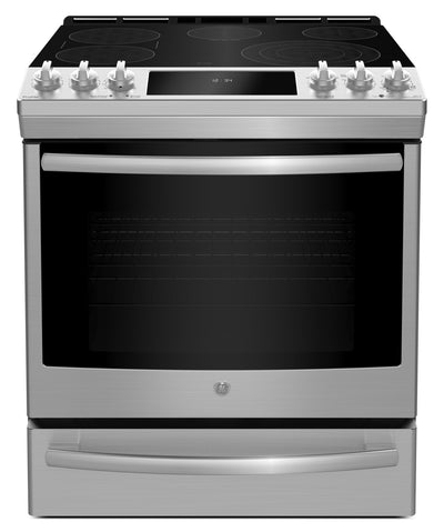 GE Profile 5.3 Cu. Ft. Slide-In 5-Element Smooth-Top Electric Range – PCS940SMSS - Electric Range with Steam
