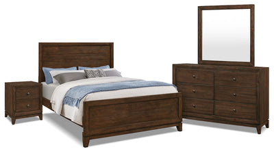 Tacoma 6-Piece Queen Bedroom Package - Rustic style Bedroom Package in Dark Brown Pine Solids and Veneers