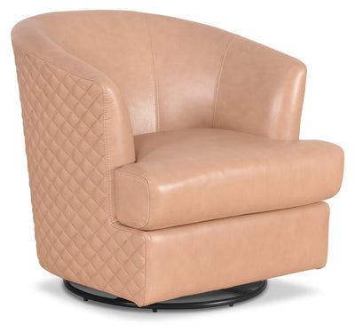Leola Genuine Leather Accent Swivel Chair – Blush|Fauteuil d'appoint pivotant Leola en cuir véritable - rosé|LEOLBLAC