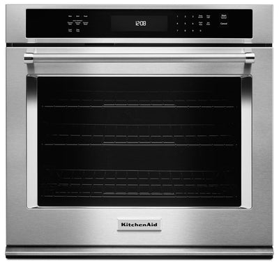 KitchenAid 5.0 Cu. Ft. Single Wall Oven with Even-Heat™ True Convection - Stainless Steel|Four mural simple KitchenAid de 5,0 pi³ à convection véritable Even-Heat(MC) - acier inoxydable|KOSE500S