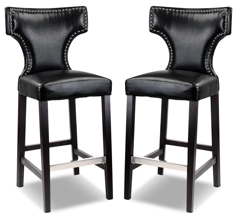 Kings Bar Stool with Metal Studs, Set of 2 – Black|Tabouret bar Kings avec clous décoratifs en métal, ensemble de 2 - noir