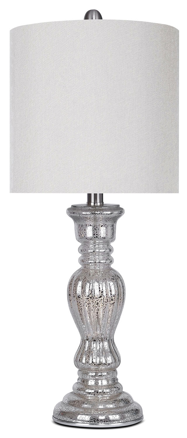 Mercury Finish Brushed Nickel Table Lamp|Lampe de table en nickel brossé au fini mercure