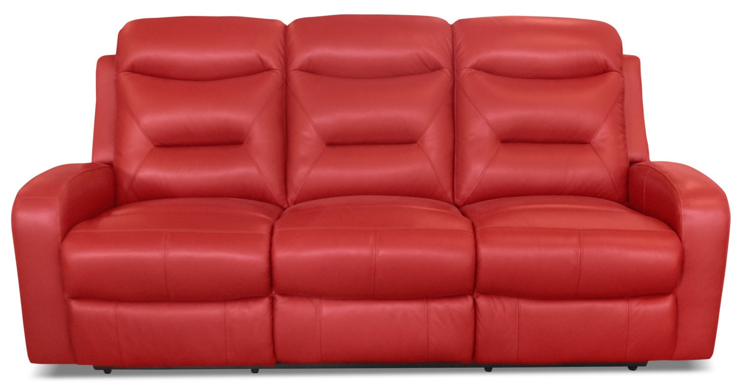 River genuine leather power reclining sofa redsofa à inclinaison électrique river en cuir véritable rouge