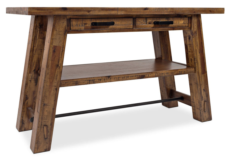 Galveston Sofa Table - Rustic style Sofa Table in Rustic Brown Acacia Solids and Veneers