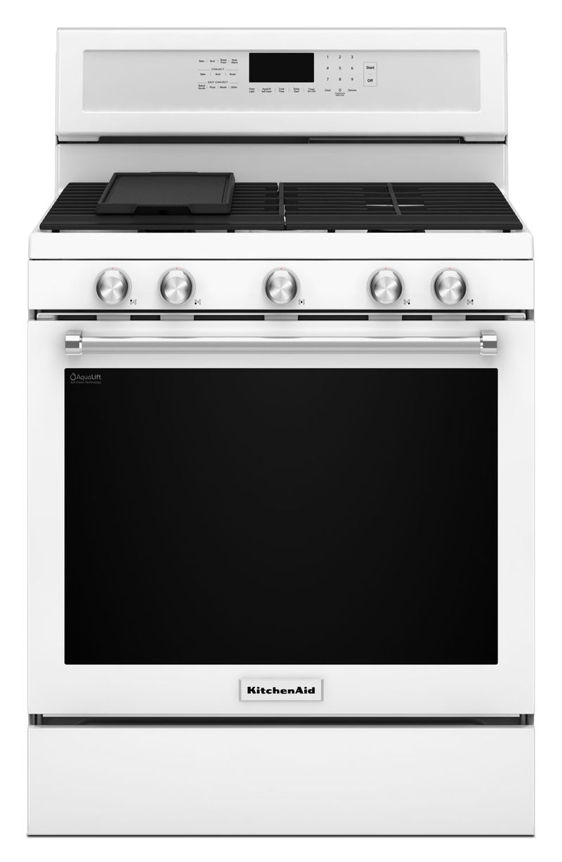 KitchenAid 5.8 Cu. Ft. Five-Burner Gas Convection Range- White|Cuisinière à gaz KitchenAid de 5,8 pi³ à convection avec 5 brûleurs - blanche
