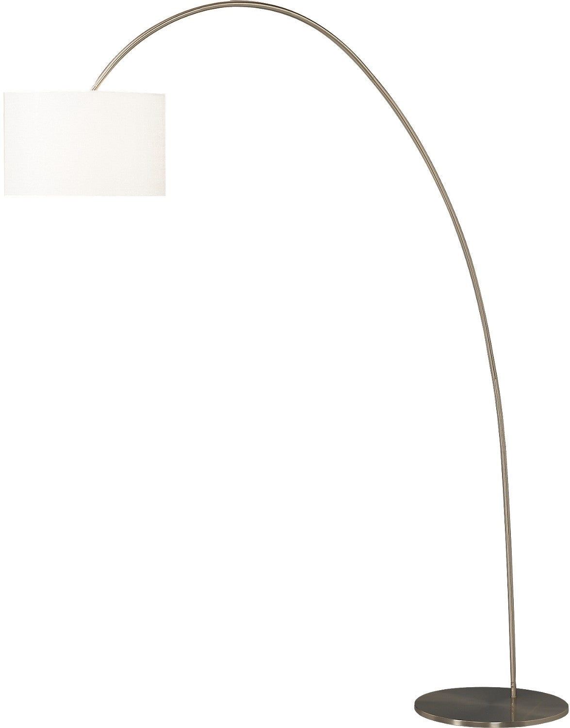 Image of: Brushed Steel Arc Floor Lamp With Linen Shade The Brick
