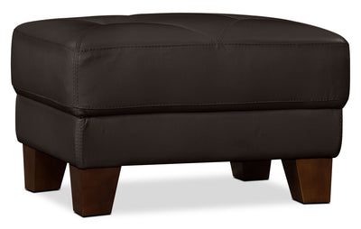 Vita 100% Genuine Leather Ottoman – Chocolate|Pouf Vita en cuir 100 % véritable - chocolat|VITACH-O